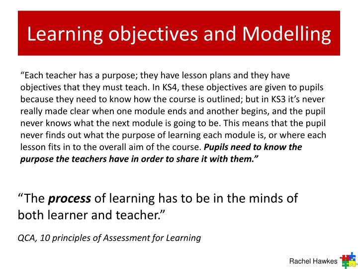 Learning objectives and Modelling