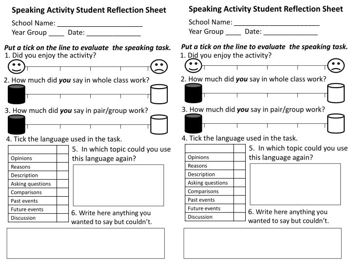 Speaking Activity Student Reflection Sheet