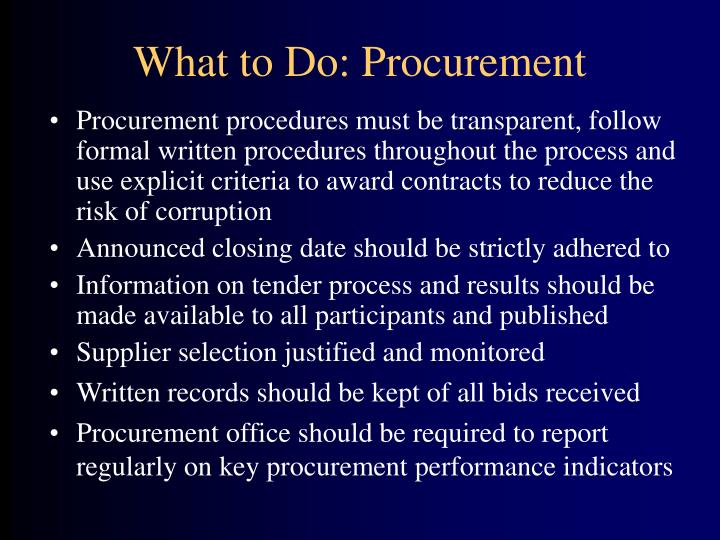 What to Do: Procurement