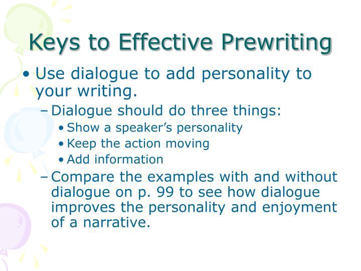 Keys to Effective Prewriting
