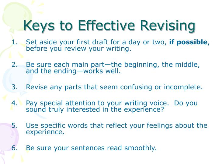 Keys to Effective Revising