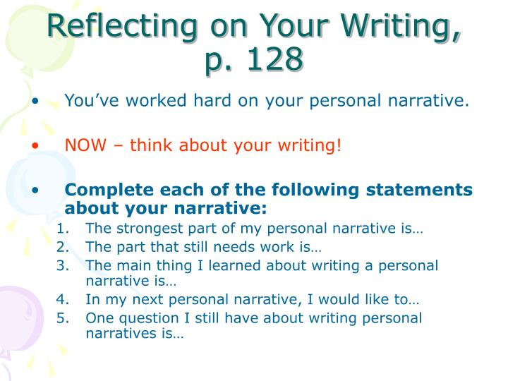 Reflecting on Your Writing, p. 128
