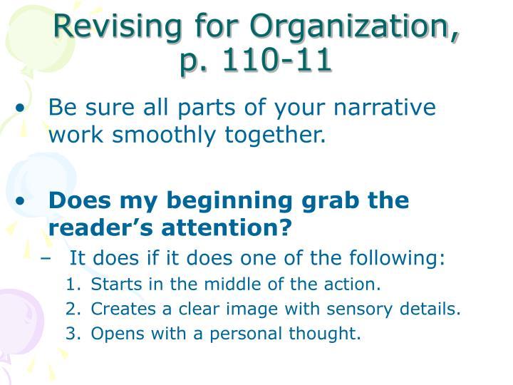 Revising for Organization,  p. 110-11