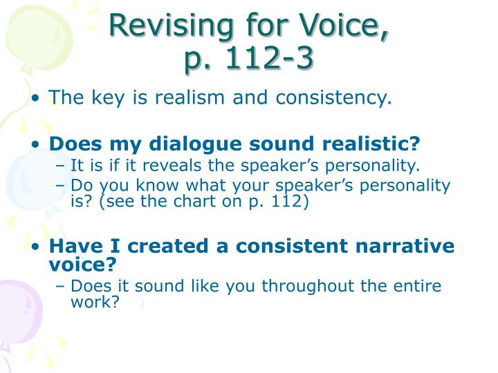 Revising for Voice,