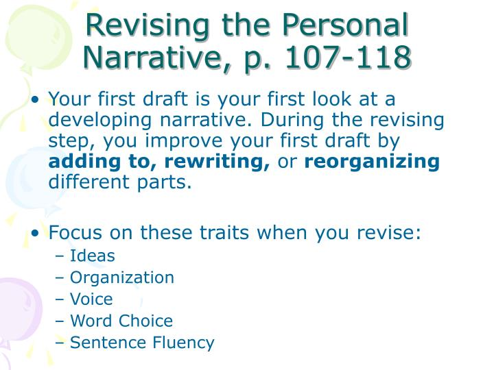 Revising the Personal Narrative, p. 107-118