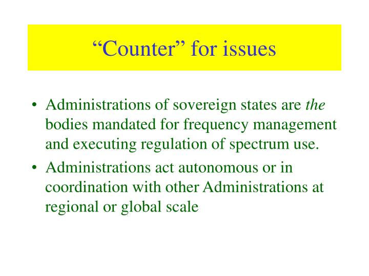 Counter for issues