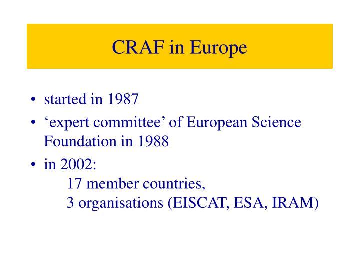 CRAF in Europe