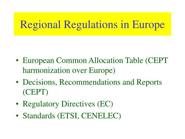 Regional Regulations in Europe