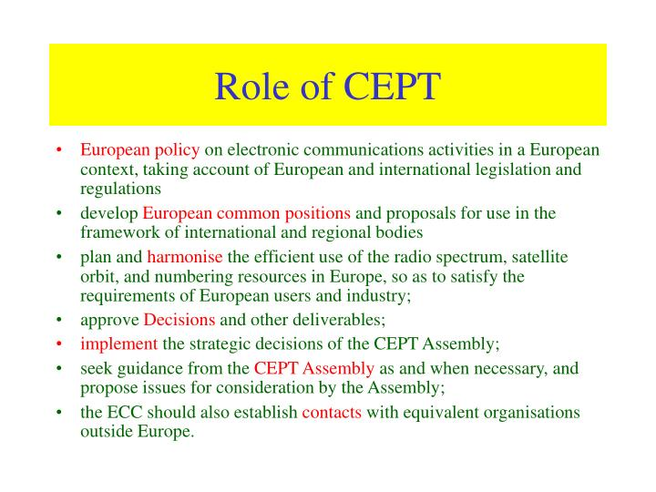 Role of CEPT
