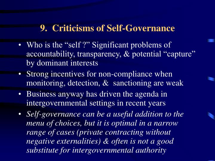 9.  Criticisms of Self-Governance
