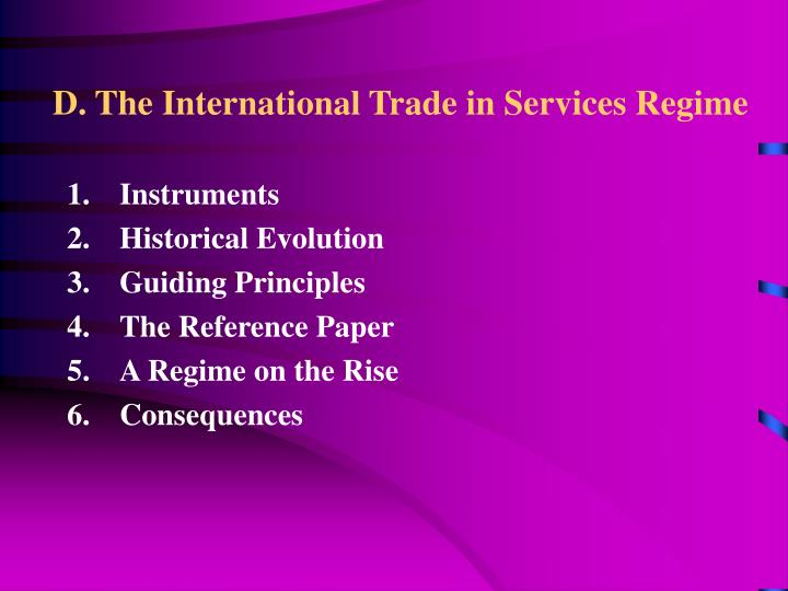 D. The International Trade in Services Regime