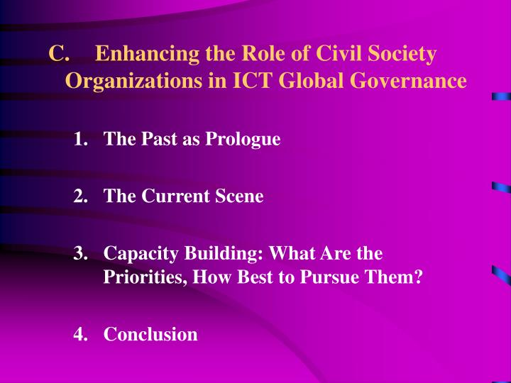 Enhancing the Role of Civil Society Organizations in ICT Global Governance