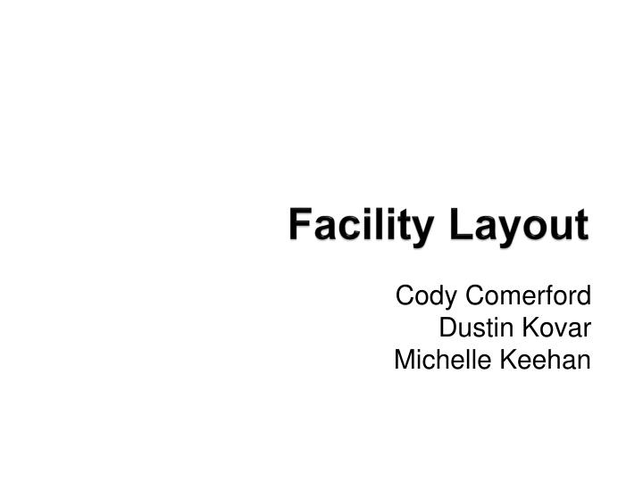 facility layout n.
