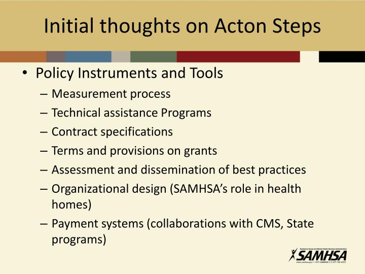 Initial thoughts on Acton Steps