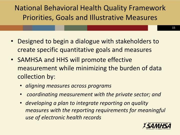 National Behavioral Health Quality Framework Priorities, Goals and Illustrative Measures