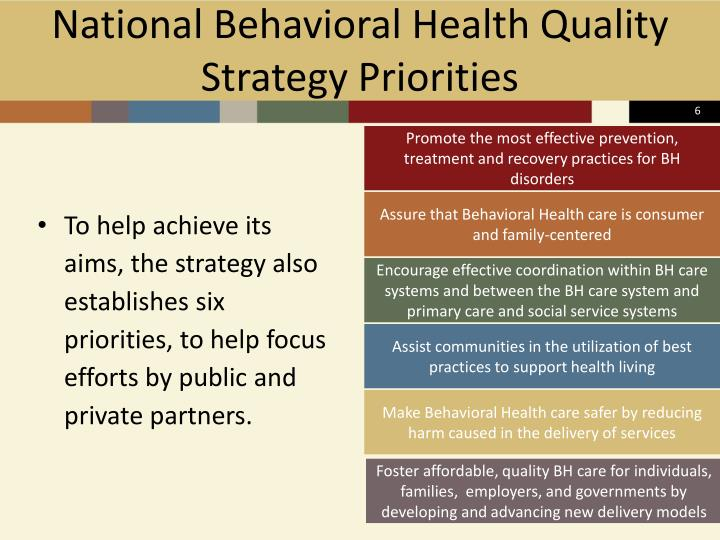 National Behavioral Health Quality Strategy Priorities