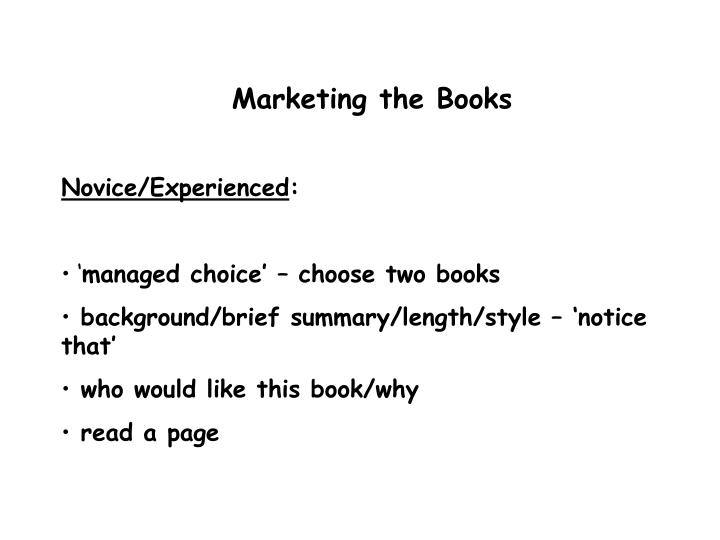 Marketing the Books