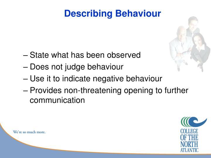 Describing Behaviour