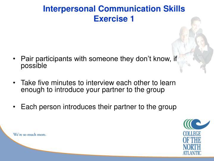 Interpersonal communication skills exercise 1