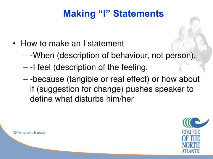 "Making ""I"" Statements"