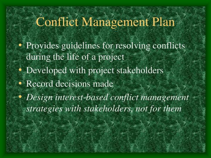 Conflict Management Plan