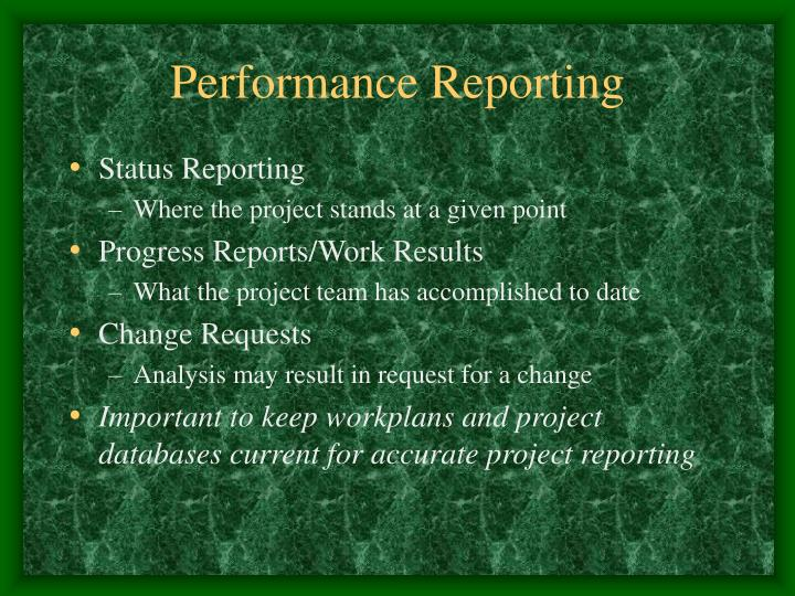 Performance Reporting