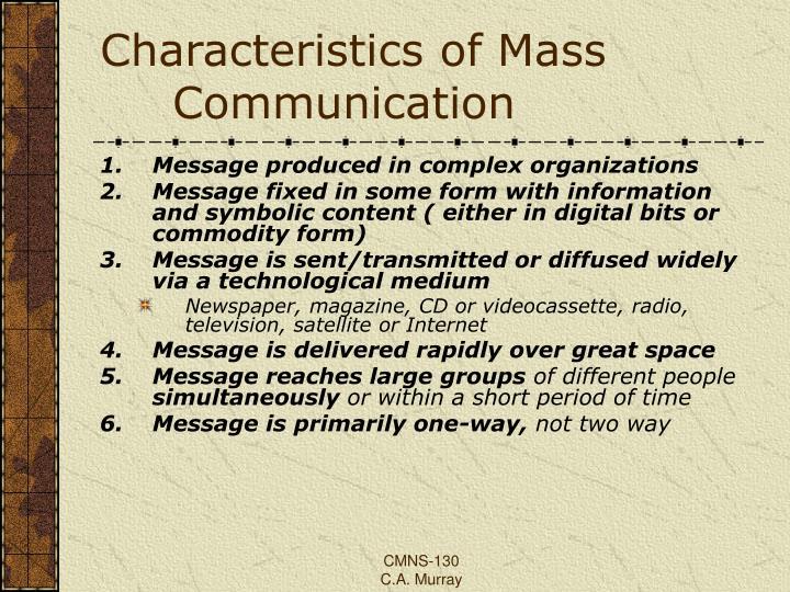 characteristics of mass communication pdf