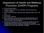 department of health and wellness promotion dhwp programs