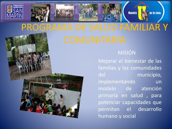 PROGRAMA DE SALUD FAMILIAR Y COMUNITARIA