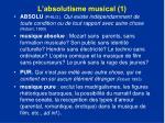 l absolutisme musical 1
