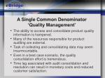 a single common denominator quality management
