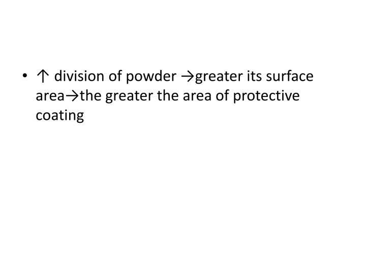 ↑ division of powder →greater its surface
