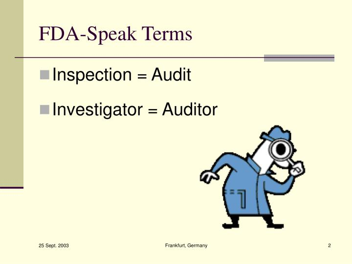 FDA-Speak Terms