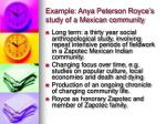 example anya peterson royce s study of a mexican community