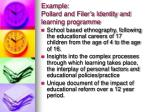 example pollard and filer s identity and learning programme