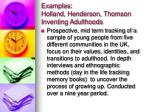 examples holland henderson thomson inventing adulthoods