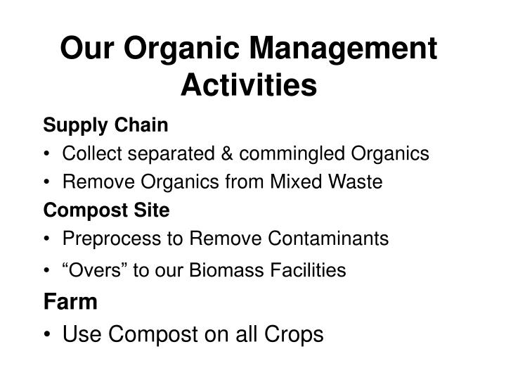 Our Organic Management Activities