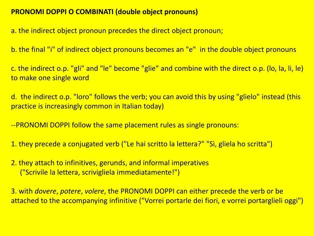 PPT - Pronomi diretti PowerPoint Presentation, free ...