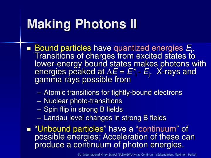 Making Photons II