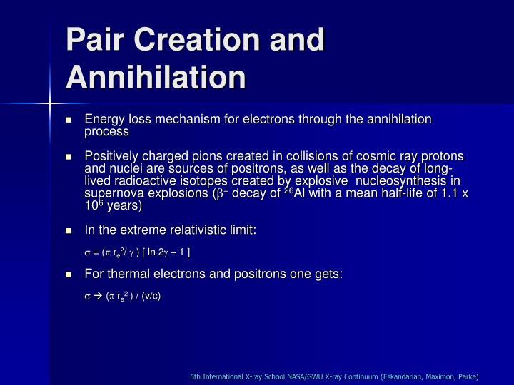 Pair Creation and Annihilation