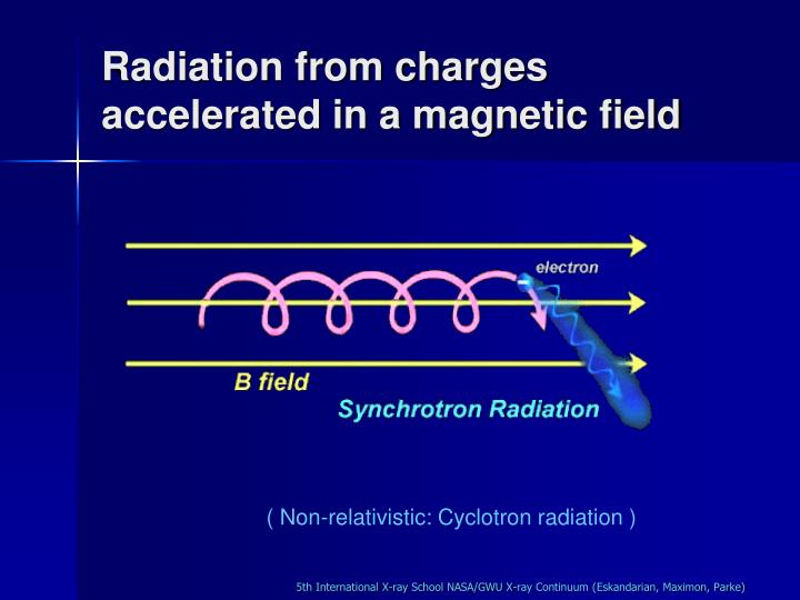 Radiation from charges accelerated in a magnetic field