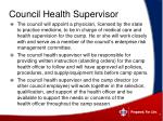 council health supervisor