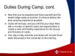duties during camp cont