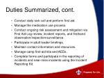 duties summarized cont