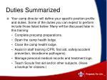 duties summarized