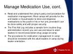 manage medication use cont