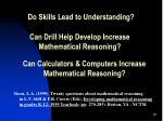 do skills lead to understanding