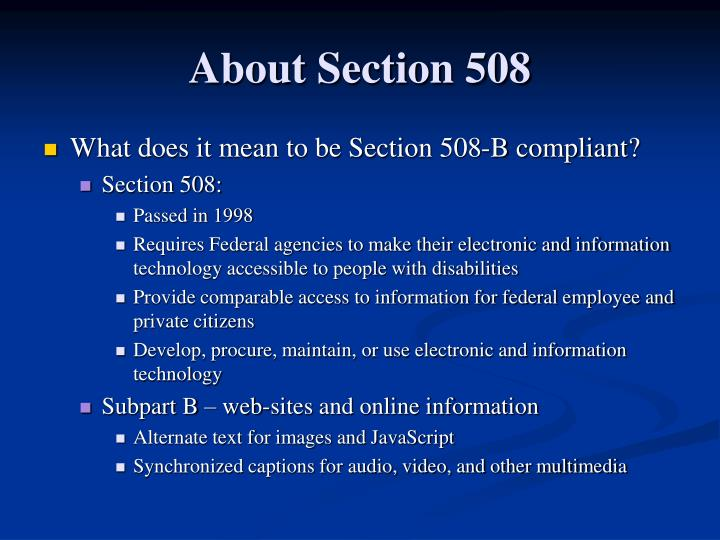 About section 508