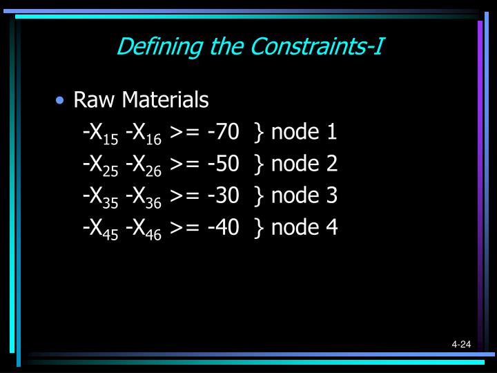 Defining the Constraints-I