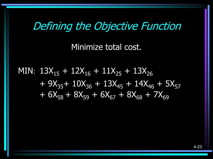 Defining the Objective Function
